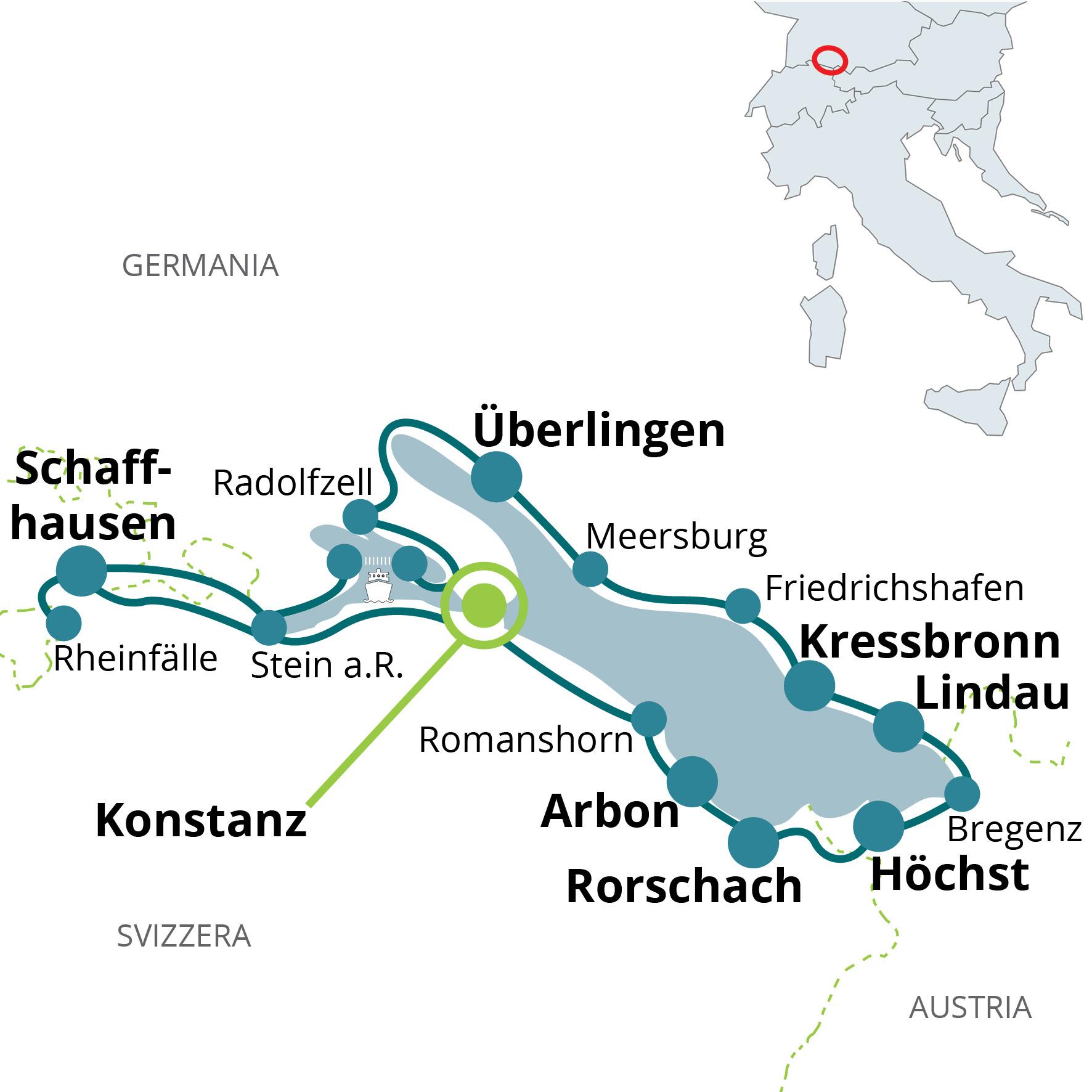 Lago Di Costanza Germania Cartina.Viaggio In Bici Il Lago Di Costanza E Le Cascate Del Reno Funactive Tours